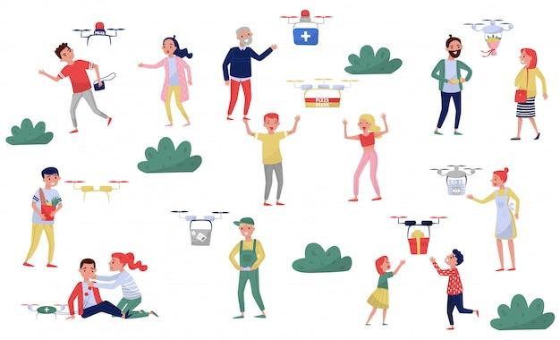 Drone delivery service, consegna di scatole ordinate alle persone, racking criminali illustrazione su uno sfondo bianco Vettore Premium