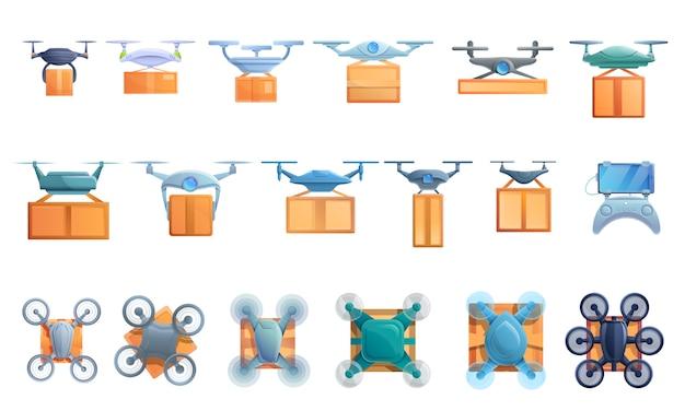 Set di servizi di consegna drone, stile cartoon Vettore Premium