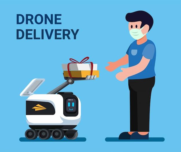 Fuco che dà pacchetto al cliente, servizio di consegna del corriere del robot nel vettore piano dell'illustrazione del fumetto Vettore Premium