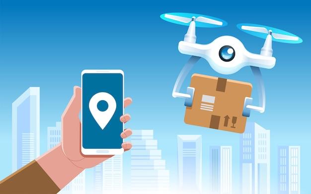 Drone con una scatola Vettore Premium
