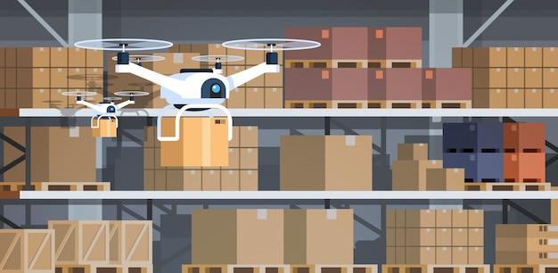 Fuco che lavora orizzontale piano moderno di intelligenza artificiale di consegna veloce interna moderna di concetto di tecnologia di robotica del magazzino Vettore Premium