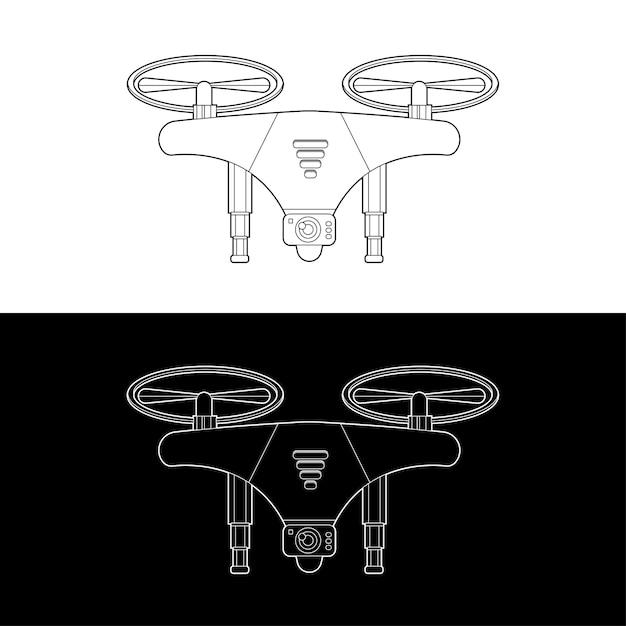 Set di icone di droni. droni grafici in bianco e nero outline outline stroke illustrate Vettore Premium