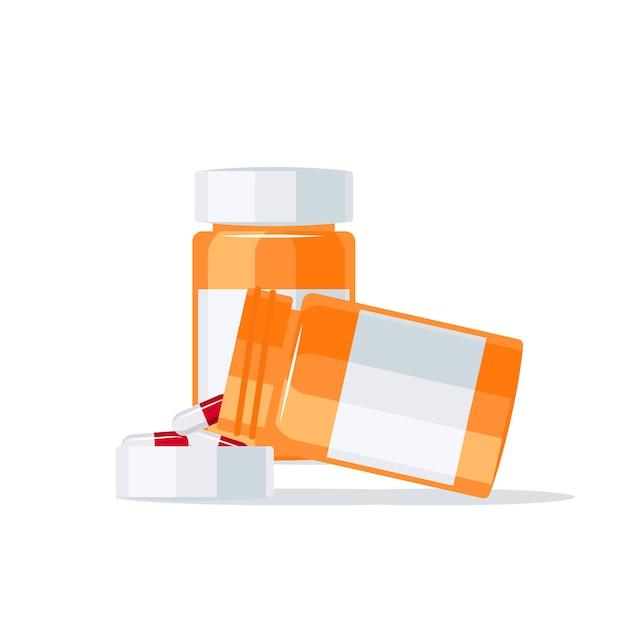 Farmaci che fuoriescono dal flacone della pillola nel coperchio. Vettore Premium