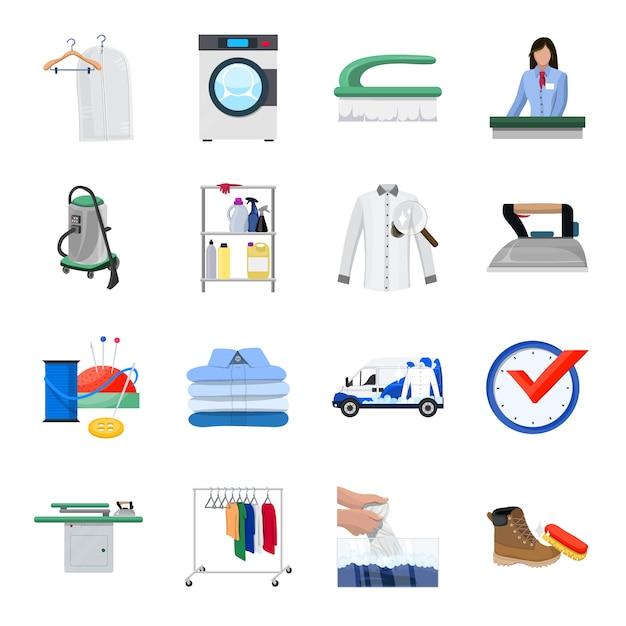 Insieme dell'icona del fumetto di lavaggio a secco, servizio di pulizia. Vettore Premium