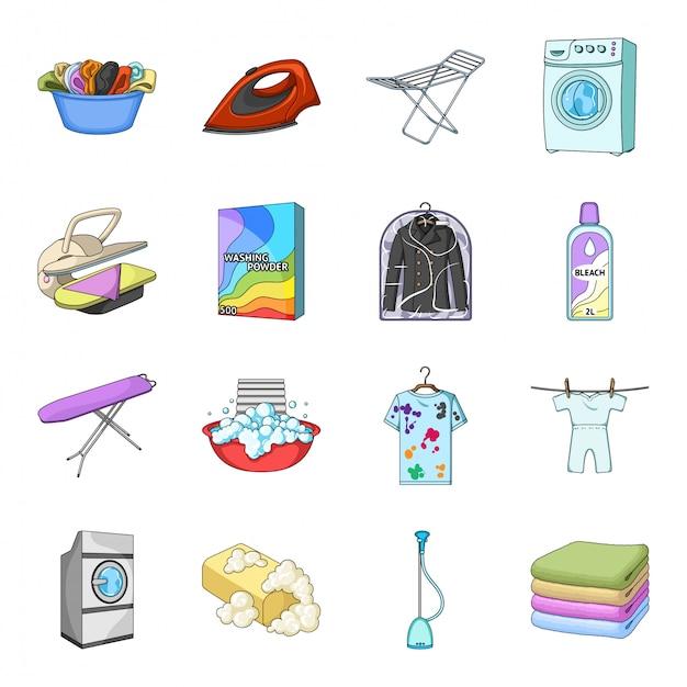 Icona stabilita del fumetto di lavaggio a secco. servizio di lavanderia . lavaggio a secco dell'icona stabilita isolata del fumetto. Vettore Premium