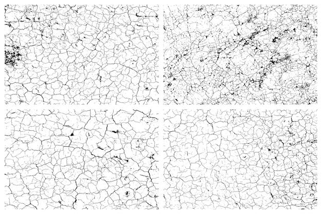 Set di texture terra screpolata secca Vettore Premium
