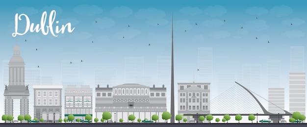 Skyline di dublino con edifici grigio e blu cielo, irlanda Vettore Premium