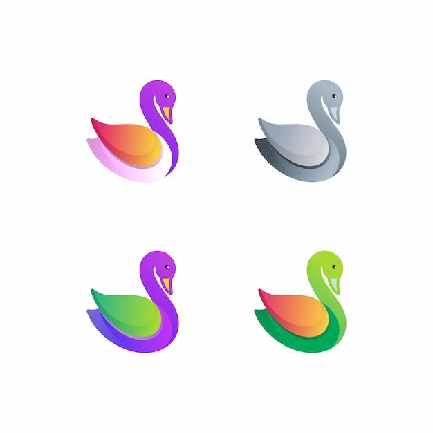 Modello di logo colorato anatra Vettore Premium