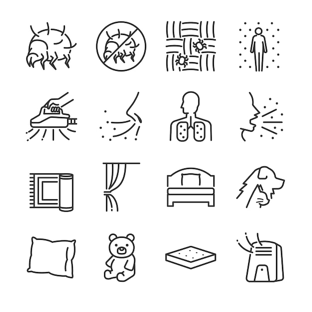 Set di icone linea di acari della polvere. Vettore Premium