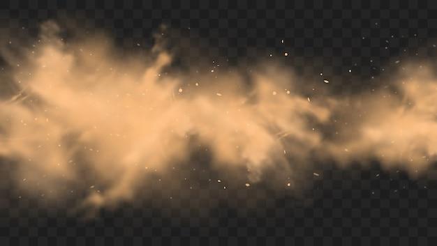 Nuvola di sabbia di polvere con sfondo di pietre Vettore Premium