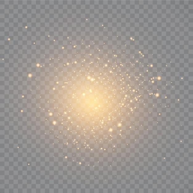 Polvere. scintille bianche e stelle dorate brillano di luce speciale. Vettore Premium