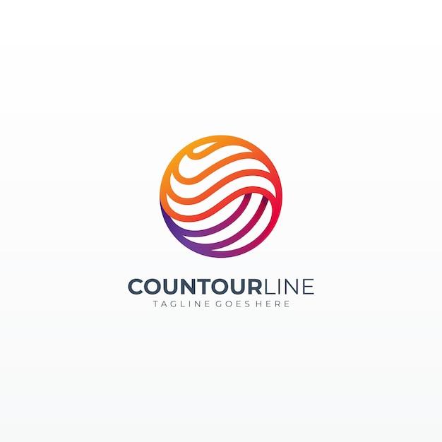 Icona di arte linea dinamica sfera globo Vettore Premium