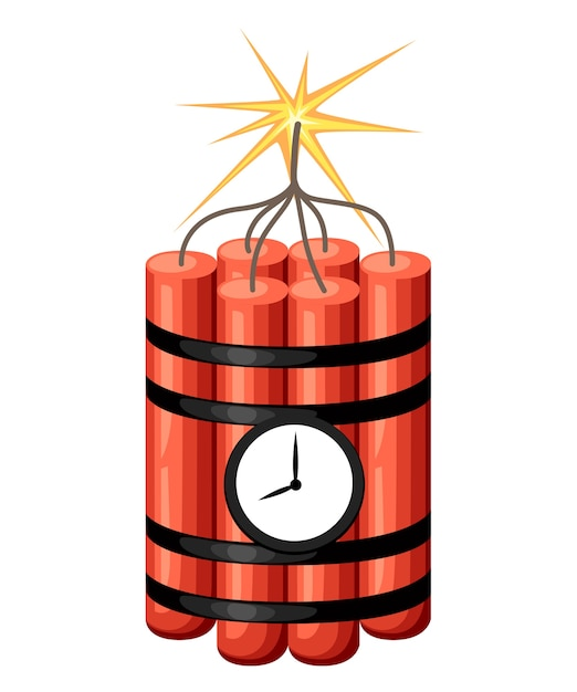 Dinamite con orologio. bomba a orologeria pronta per l'esplosione. . illustrazione su sfondo bianco. pagina del sito web e app per dispositivi mobili. Vettore Premium