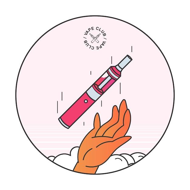 Sigaretta elettronica in mano. concetto di fumo vape, illustrazione lineart. Vettore Premium