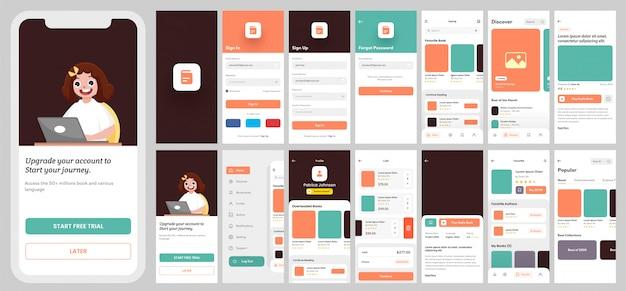 Kit interfaccia utente per app di e-learning per app mobile reattiva o sito web con layout diverso, inclusi accesso, registrazione, libri e schermate di notifica. Vettore Premium