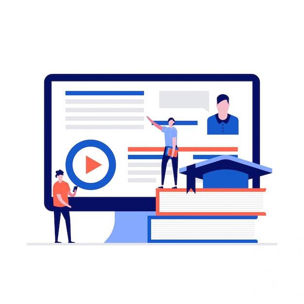 Concetto di e-learning con personaggi in piedi vicino allo schermo del computer e ai libri. Vettore Premium