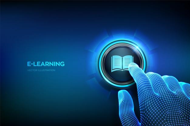 E-learning. formazione online innovativa, webinar, concetto di insegnamento. dito del primo piano per premere un pulsante. Vettore Premium