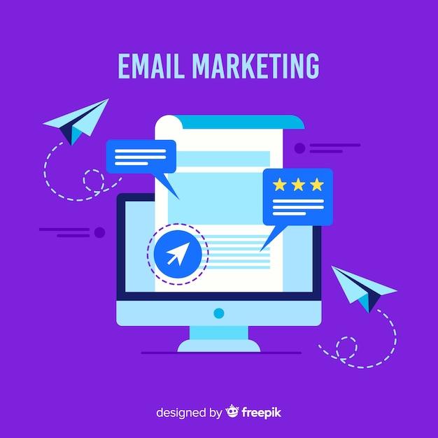 Sfondo piatto di marketing e-mail Vettore Premium