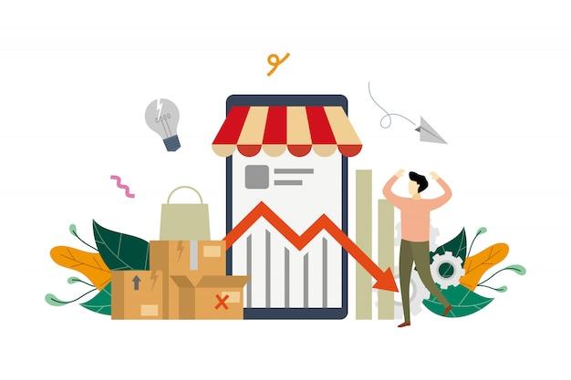 Illustrazione di concetto di crisi del reddito di e-marketing Vettore Premium