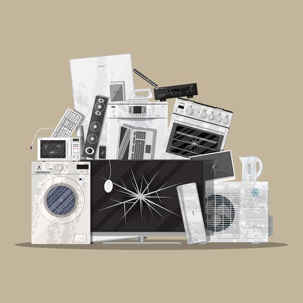 Mucchio di apparecchiature elettriche ed elettroniche per rifiuti elettronici Vettore Premium