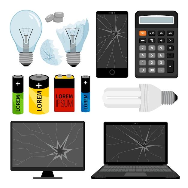 Raccolta di icone di rifiuti elettronici, con batterie per notebook e lampadina Vettore Premium