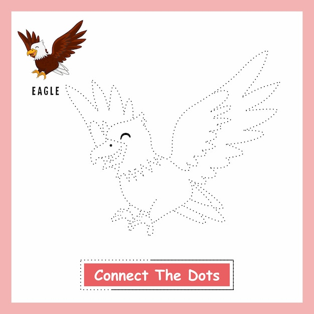 Eagle connect the dots worksheet Vettore Premium