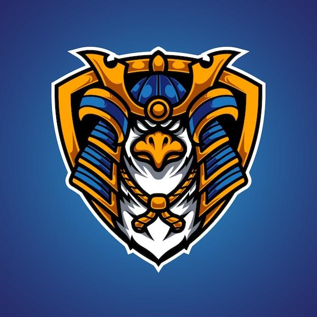 Logo mascotte eagle samurai e sport Vettore Premium