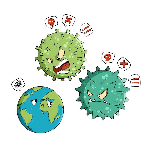 La terra è vittima di bullismo a causa del coronavirus Vettore Premium