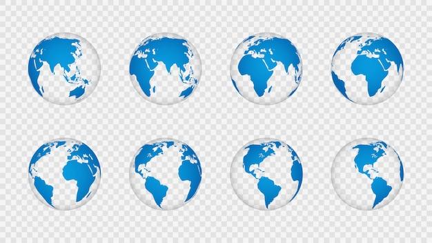 Globo terrestre 3d. realistici mappamondi continenti continenti. pianeta con trama cartografia, geografia isolato su set vettoriale trasparente Vettore Premium