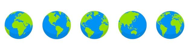 Set di globo terrestre. mappa del mondo a forma di globo. accumulazione dei globi della terra su priorità bassa bianca. stile piatto Vettore Premium