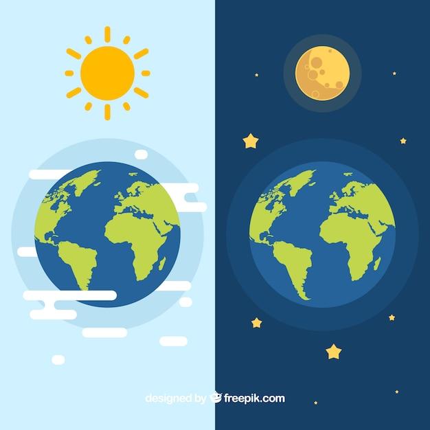 Terra con sole e la luna Vettore Premium