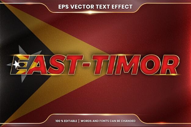 Timor est con la sua bandiera nazionale del paese, stile di effetto testo modificabile con concetto di colore oro sfumato Vettore Premium