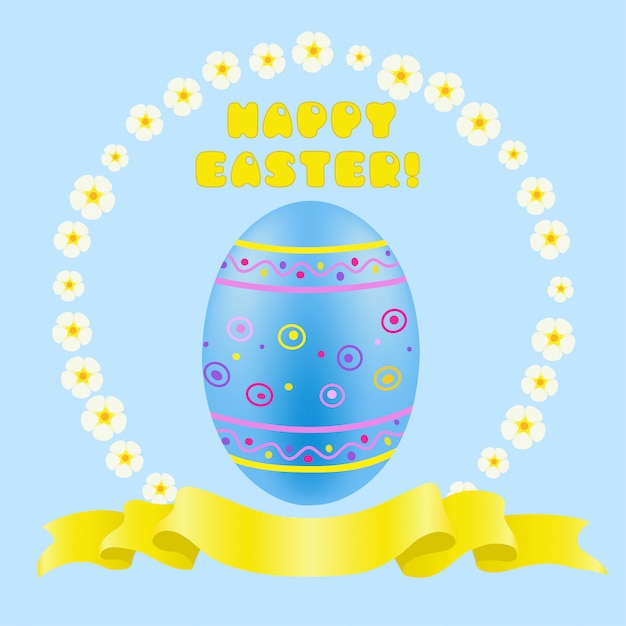 Uovo dipinto di blu di pasqua e nastro dorato Vettore Premium