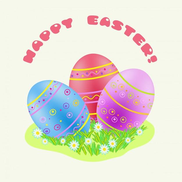 Pasqua blu; rosso; uovo dipinto viola in erba verde Vettore Premium