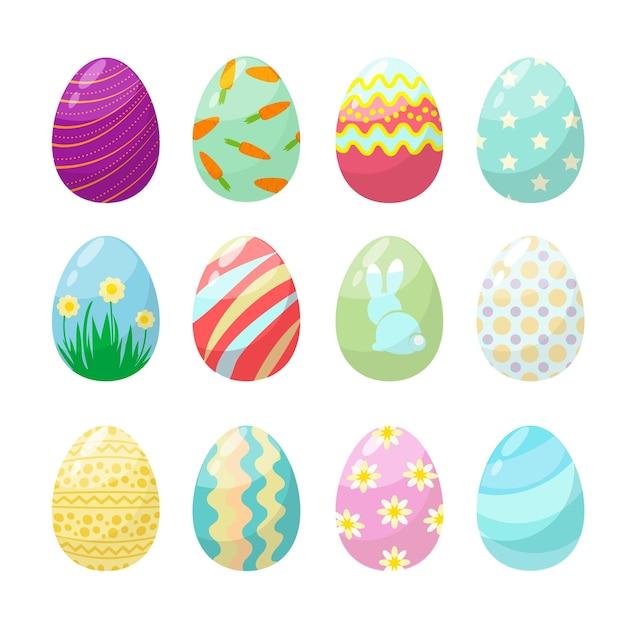 Uovo di pasqua. collezione di uova di celebrazione decorate colorate di polo carino. illustrazione di raccolta, decorazione e tradizione delle uova di pasqua Vettore Premium