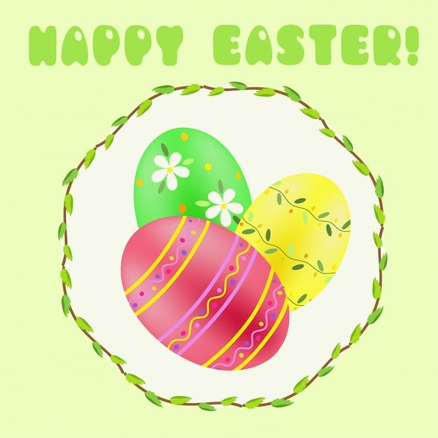 Saluto pasquale con verde; rosso; uova dipinte di giallo Vettore Premium