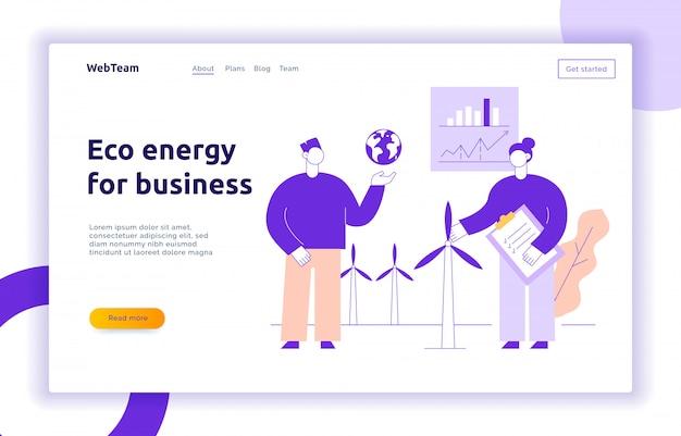 Eco energia per la moderna landing page con grandi persone, vento, terra Vettore Premium