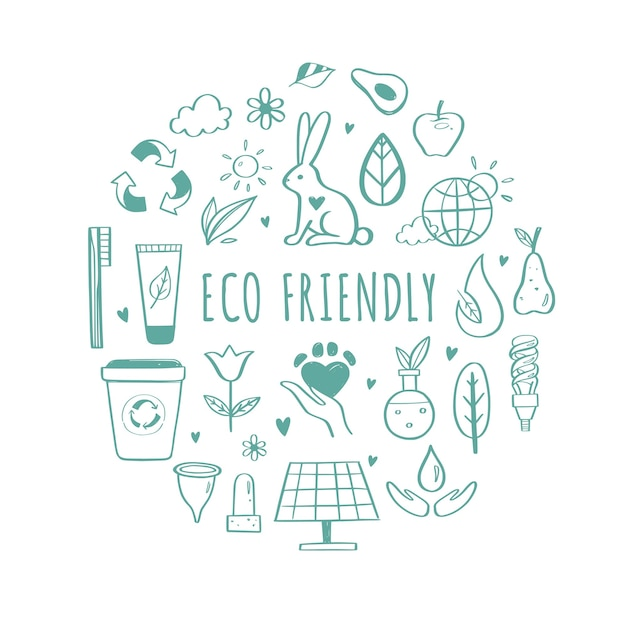 Set di icone disegnate a mano di ecologia amichevole di eco Vettore Premium