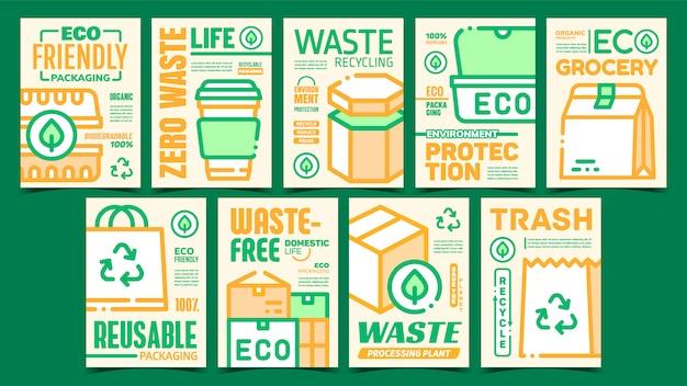 Set di manifesti promozionali di imballaggio ecologico Vettore Premium