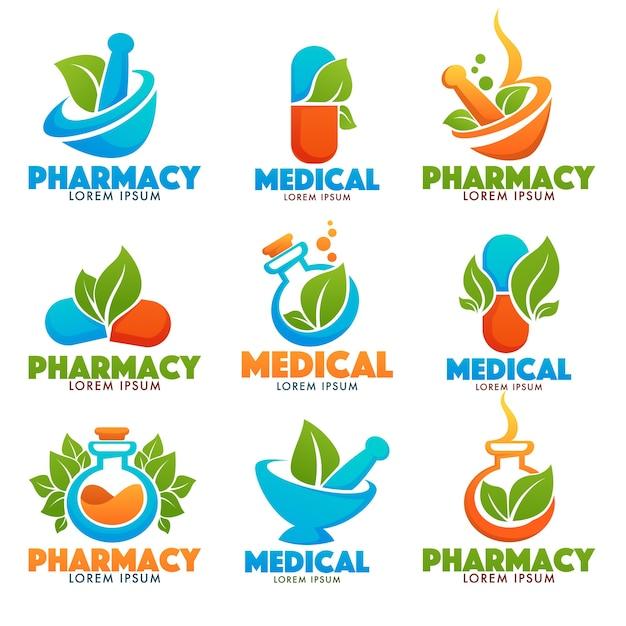 Eco pharma, glossy shine logo template con immagini di bottiglie, pounder, pillole e foglie verdi Vettore Premium