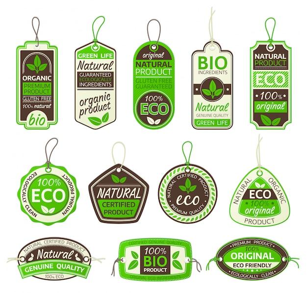 Set di etichette per prodotti eco Vettore Premium