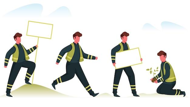 Eco volunteer o plant rescue team che svolge varie attività su sfondo bianco. Vettore Premium