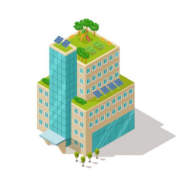 Ecologico dell'illustrazione della costruzione dell'appartamento o dell'hotel Vettore Premium