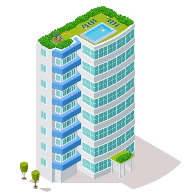 Concetto ecologico della costruzione dell'hotel con la zona di riposo e lo stagno sull'illustrazione del tetto Vettore Premium