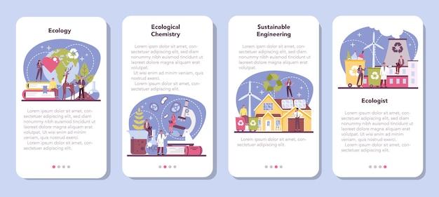Set di banner per applicazioni mobili ecologista. scienziato che si prende cura della natura e studia l'ambiente ecologico. Vettore Premium