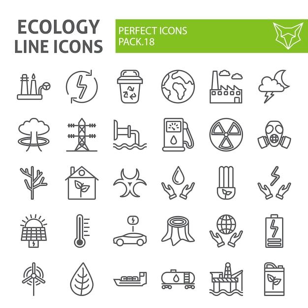 Insieme dell'icona di linea di ecologia, schizzi di vettore di raccolta eco, Vettore Premium