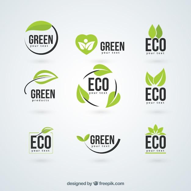 Loghi ecologia Vettore Premium
