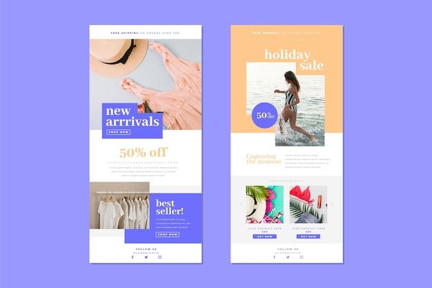 Modello di email e-commerce Vettore Premium