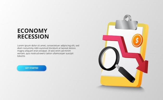 Economia depressione e recessione concetto di analisi della crisi finanziaria con appunti, lente di ingrandimento e moneta da un dollaro. modello di pagina di destinazione Vettore Premium