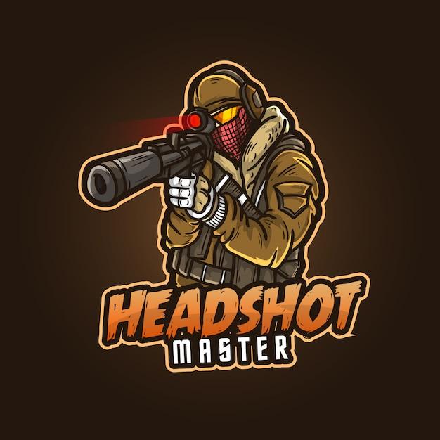 Design del logo mascotte sportivo modificabile e personalizzabile, esports logo headshot master gaming Vettore Premium